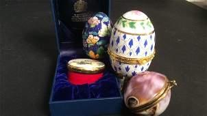 3 porcelain pill boxes 1 cloisonn egg
