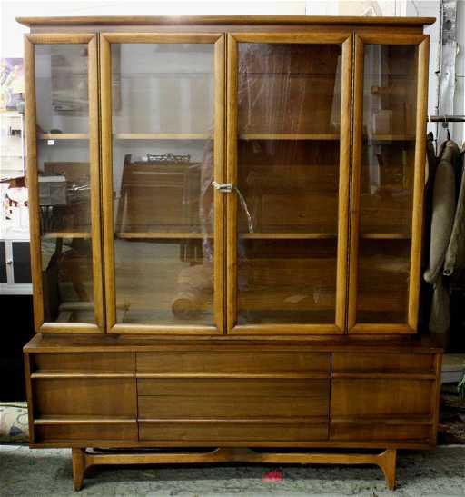 Mid Century Modern Danish Teak Cabinet Glass Doors