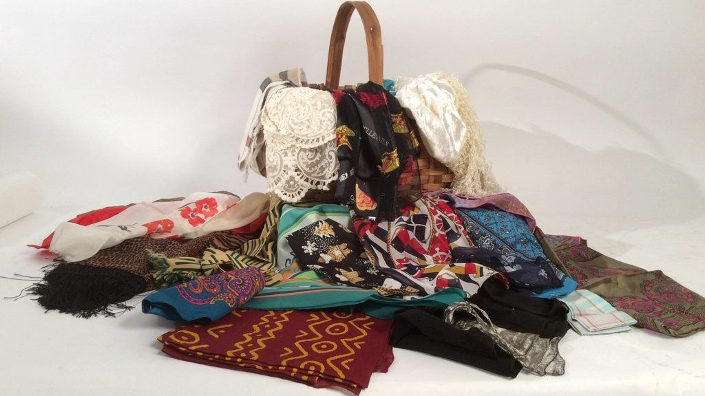 Vintage Basket Filled With Scarves