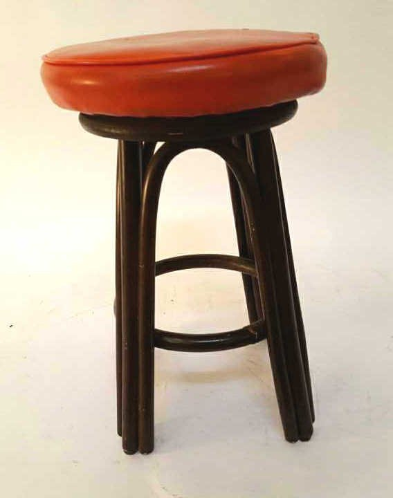 Vintage Red Orange Leather Swivel Stool