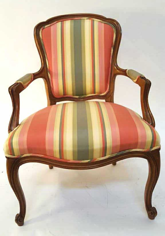 LOUIS XV Style Bright Striped Accent Chair