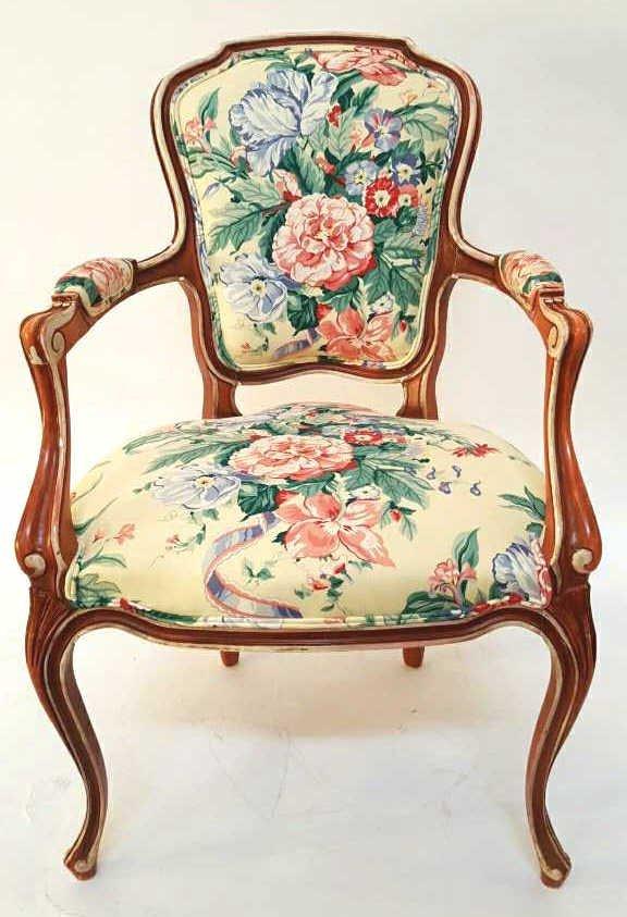 Vintage LOUIS XV Wood Painted Floral Chair
