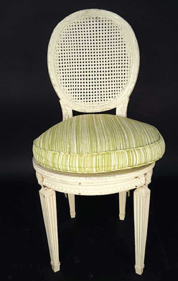 Federal Oval Style Cane & Carved Wood White Chair