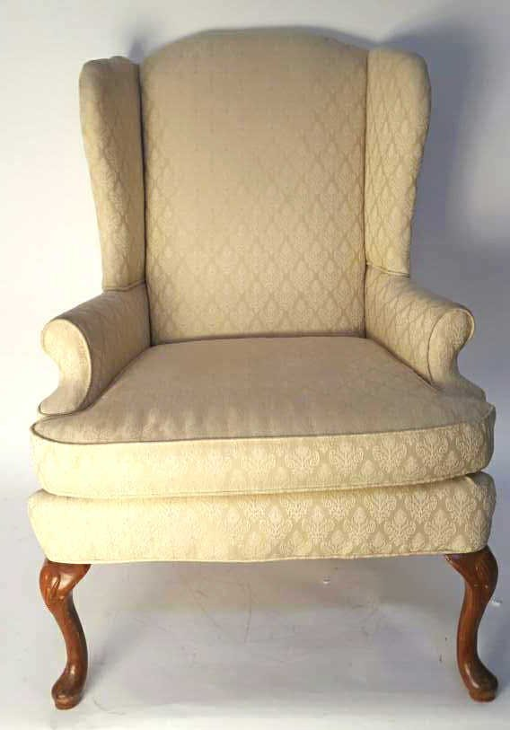 Vintage Cream Wingback Accent Chair