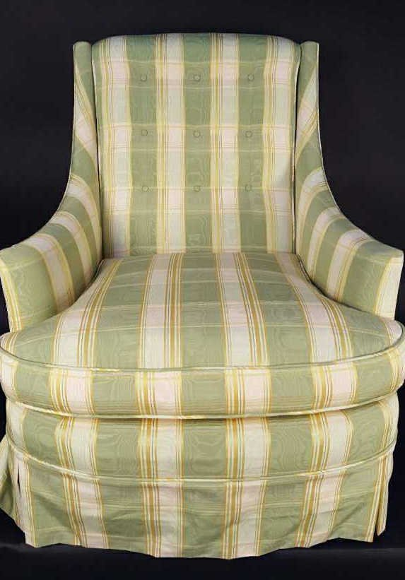Vintage Low Arm Plaid Library Accent Chair