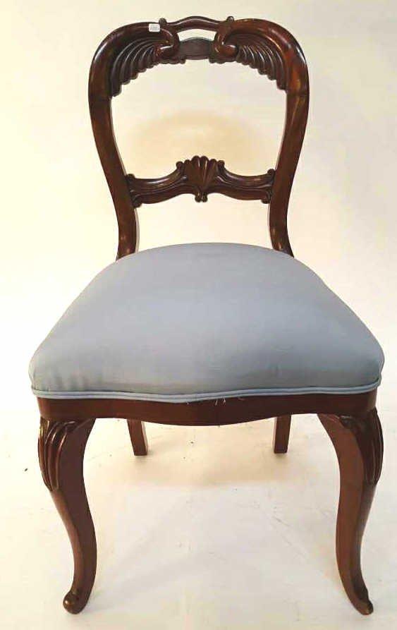 Vintage Dark Wood Light Blue Accent Chair