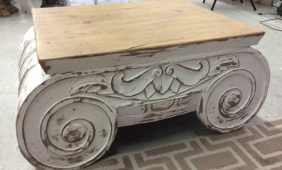 COUNTRY WILLOW Painted Wood Scroll Coffee Table