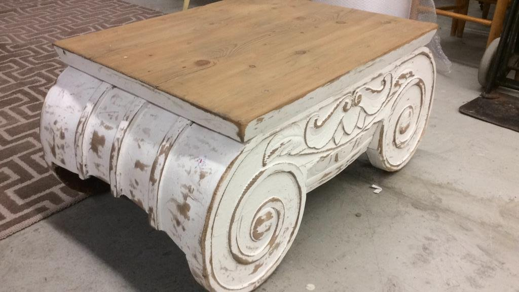 COUNTRY WILLOW Painted Wood Scroll Coffee Table - 3