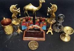 Vintage Brass Copper Metal Desk Articles