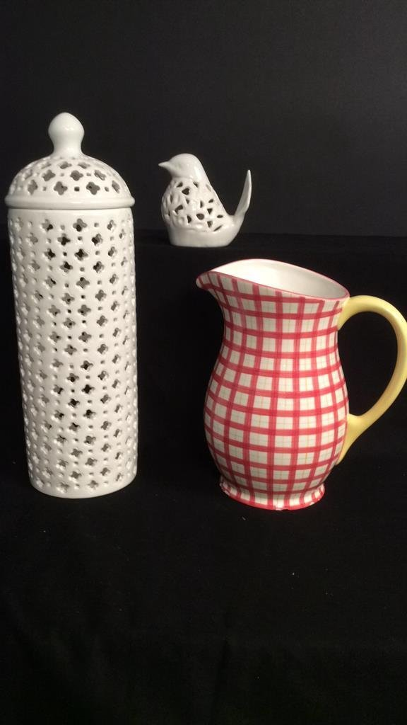 3 Contemporary Glazed Pottery Decorative