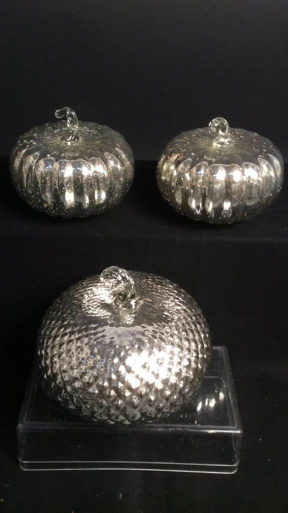 3 Mercury Glass Pumpkin Forms