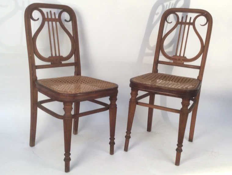 Pair of Harp Back Wooden Chairs