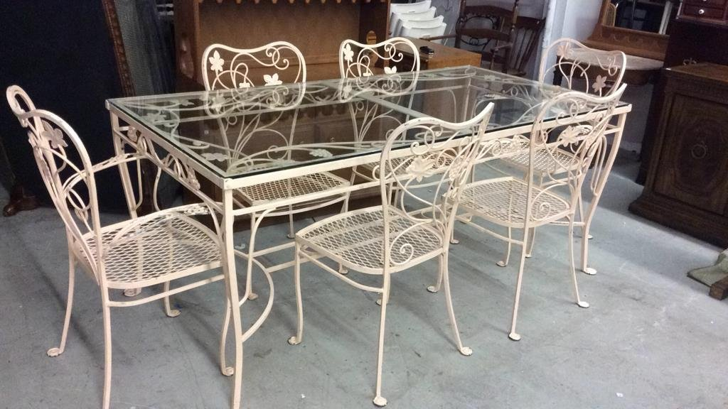 Wrought Iron and Glass Top Patio Set
