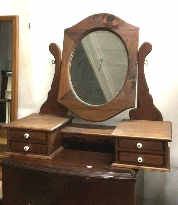 Country Stained Wood Tabletop Vanity Mirror