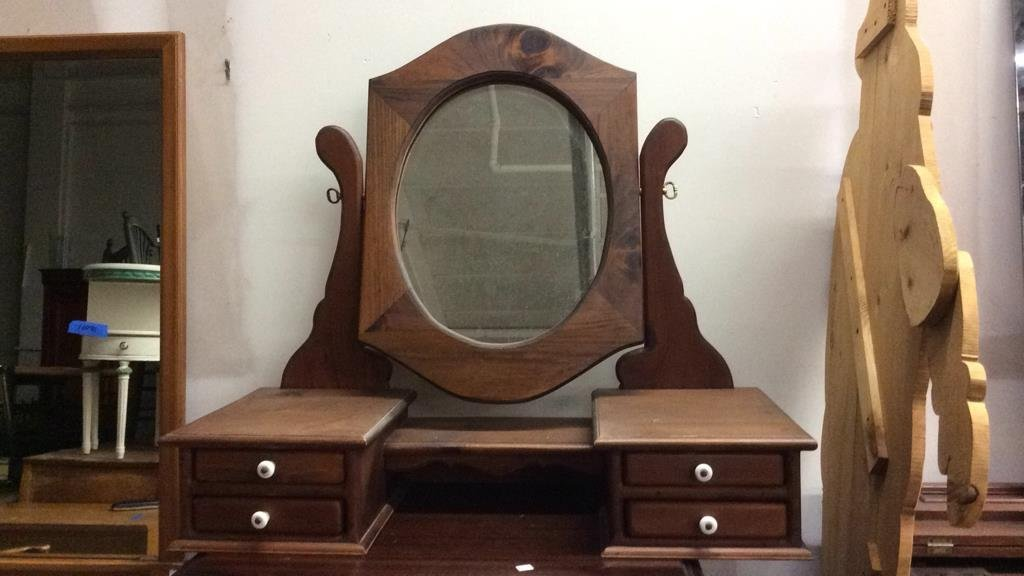 Country Stained Wood Tabletop Vanity Mirror - 7