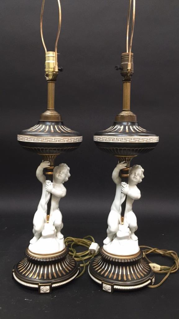 Pair vintage German Porcelain Cherub Lamps