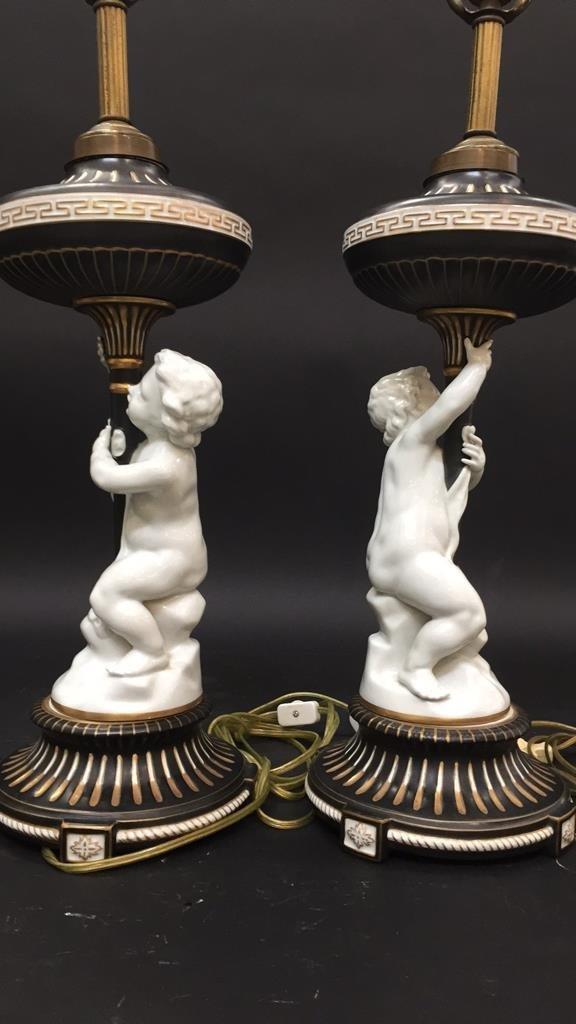 Pair vintage German Porcelain Cherub Lamps - 2