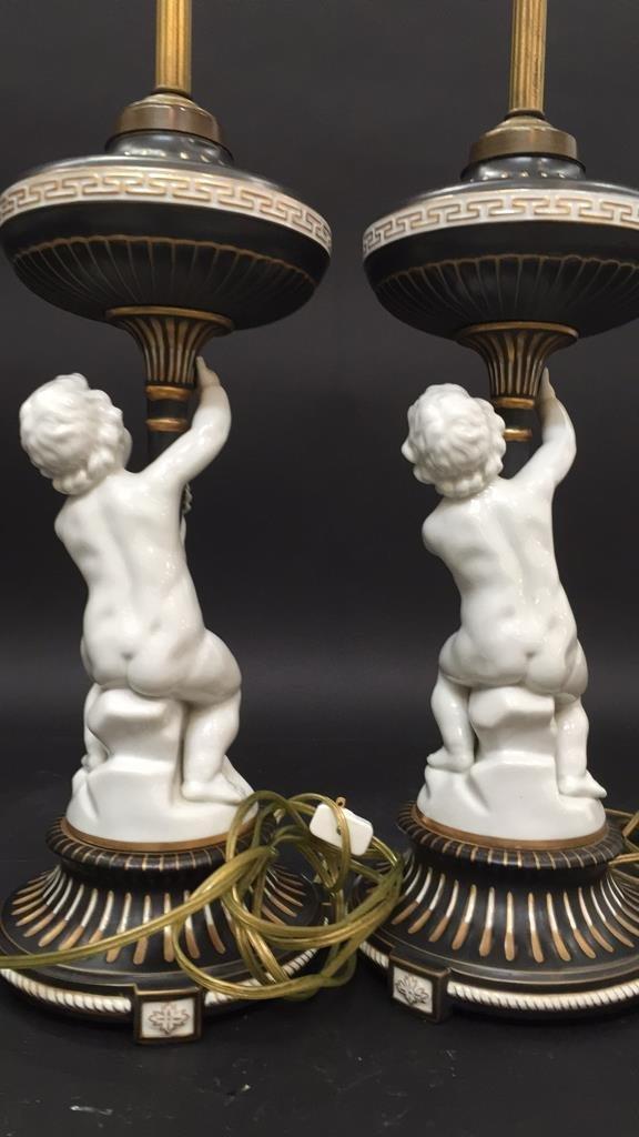 Pair vintage German Porcelain Cherub Lamps - 3