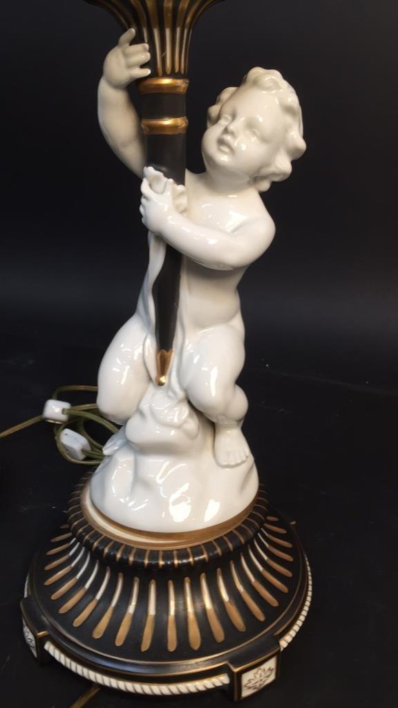 Pair vintage German Porcelain Cherub Lamps - 5