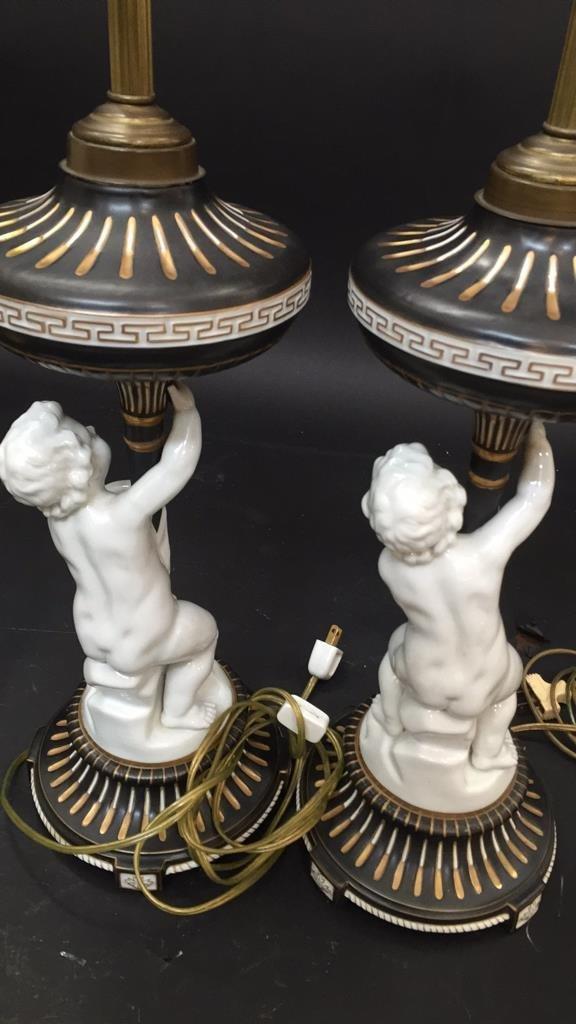 Pair vintage German Porcelain Cherub Lamps - 8