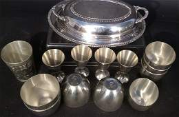 Group lot signed pewter and silver plate