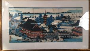 Large Framed Japanese Colored Woodblock Print