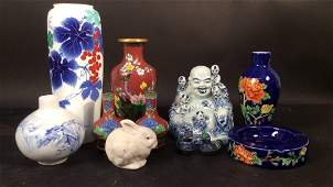 Signed Asian enamel and porcelain cloisonn group