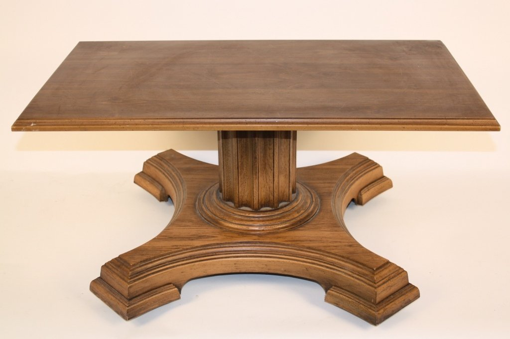 Vintage Walnut Coffee Table on Casters Decorative Doric