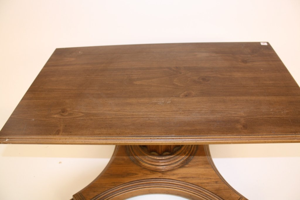 Vintage Walnut Coffee Table on Casters Decorative Doric - 2