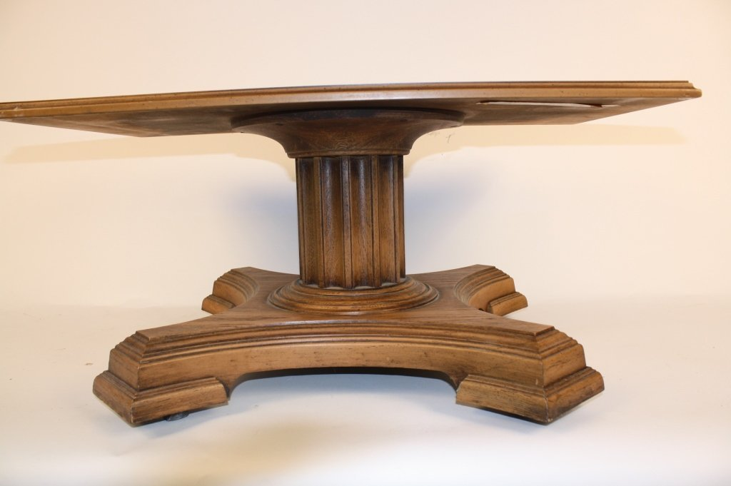 Vintage Walnut Coffee Table on Casters Decorative Doric - 3