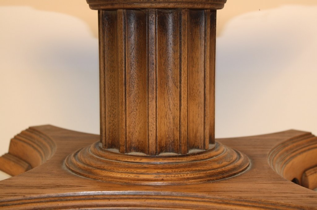 Vintage Walnut Coffee Table on Casters Decorative Doric - 4