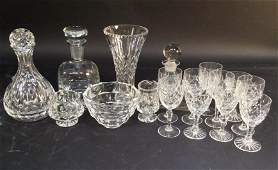 Cut crystal group lot decanters stem ware