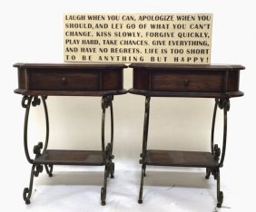 Pair Of Mahogany & Wrought Iron End Tables