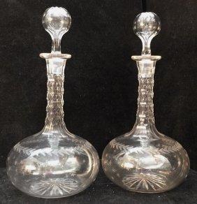 Pair Of Antique 19th Century Decanters Circa 1880