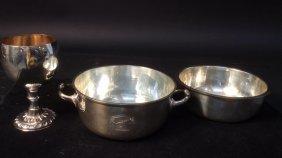 Antique Silver Goblet, 2 Handled Bowl W Insert