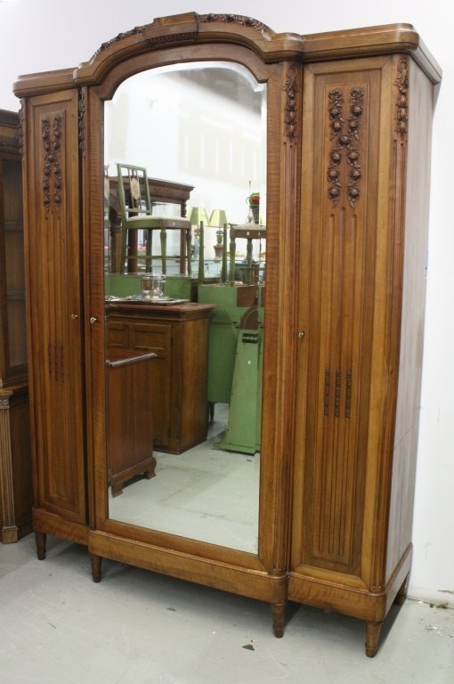 French Antique Armoire Wardrobe Cabinet w Mirror - 10
