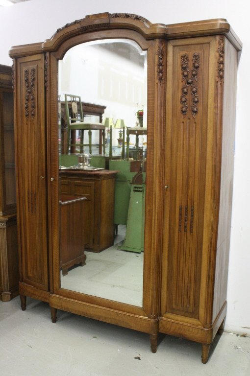 French Antique Armoire Wardrobe Cabinet w Mirror