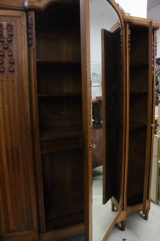 French Antique Armoire Wardrobe Cabinet w Mirror - 4