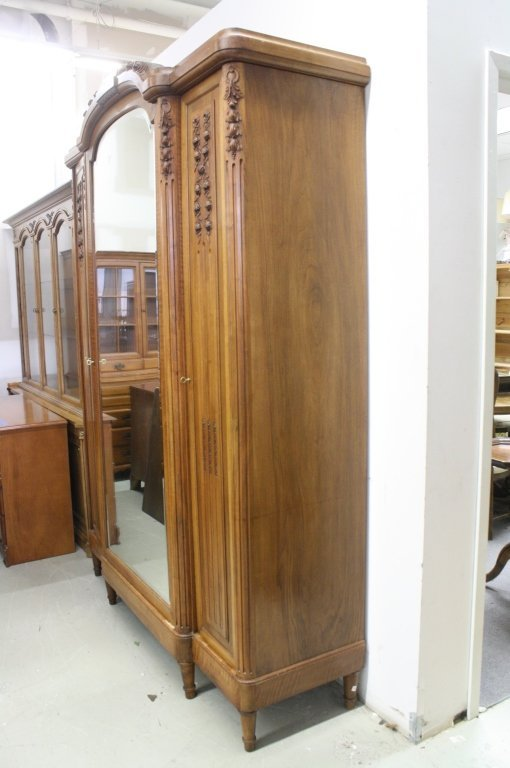 French Antique Armoire Wardrobe Cabinet w Mirror - 8