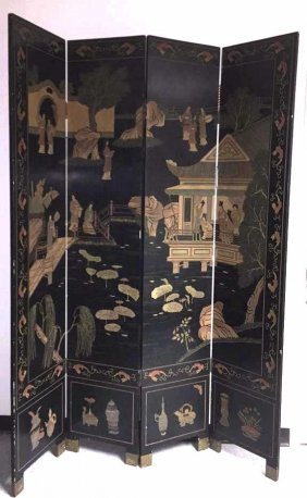 Antique Chinese Coromandel 4 Panel Lacquer Screen