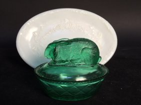 Vintage Pressed Glass Green And White Lot