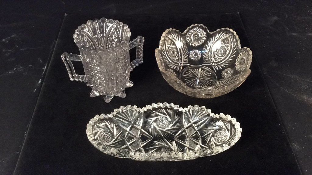 Vintage Three Piece Crystal Glass Lot Lot includes 1