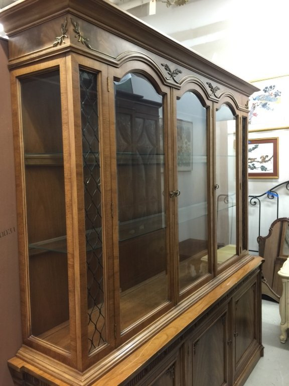 Walnut Three Sided Glass China Cabinet Arched glass