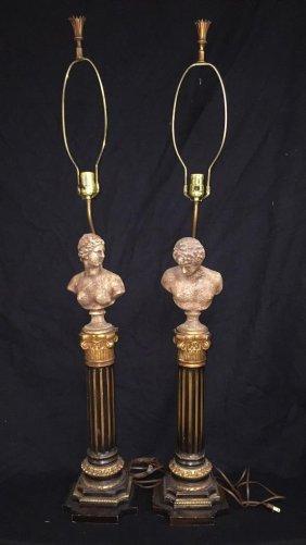 Pair Vintage Greek Style Sculptural Table Lamps Doric