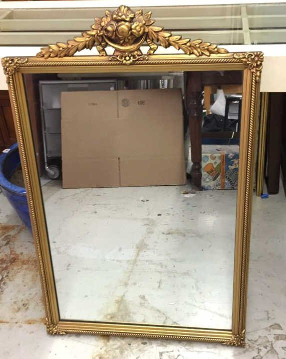 Vintage Mirror in Carved Wood Frame Painted gold with