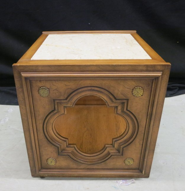 Cube Carved Wood Marble End Table Marble top cracked