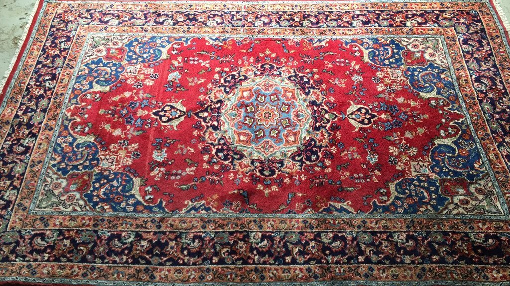 Persian Hand Woven Carpet Fringe on two sides with red