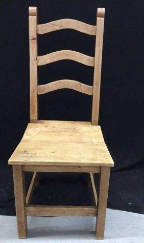 Rustic Pine Ladder Back Side Chair Distressed Oak