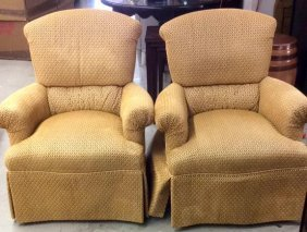 Pair Of Upholstered Roll Arm Chairs Pair Of High Back,