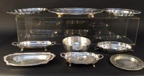 Group Lot Of Silver Dinning Wear Plates Group Lot Of